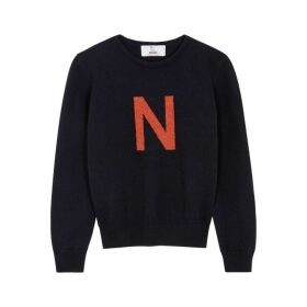 Hades Alphabet N Navy Wool Jumper