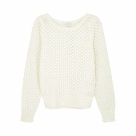 Joie Moxya Cream Crochet-knit Jumper