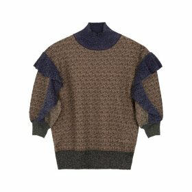 Chloé Colour-blocked Metallic-knit Top