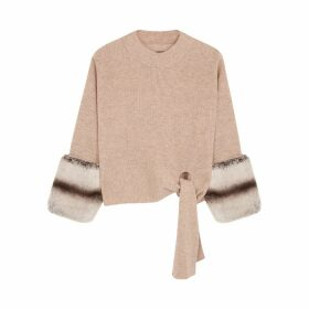 Izaak Azanei Sand Fur-trimmed Wool And Cashmere-blend Jumper