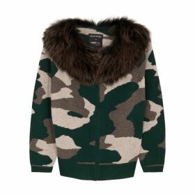 Izaak Azanei Camouflage Fur-trimmed Wool And Cashmere-blend Cardigan