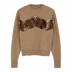 Izaak Azanei Camel Panelled Wool And Cashmere-blend Jumper