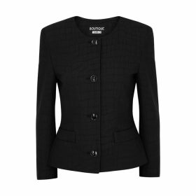 Boutique Moschino Black Crocodile-effect Jacquard Blazer