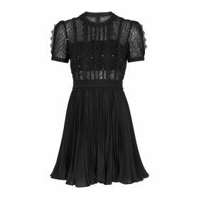 Self-Portrait Black Sequin-embellished Mini Dress