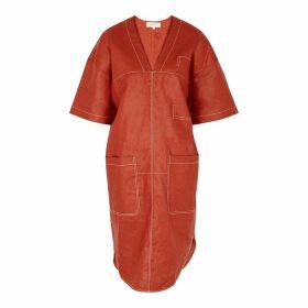 Lee Mathews Phoebe Red Linen Midi Dress