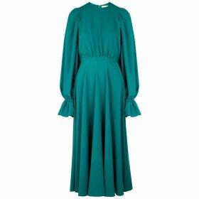 Roksanda Raima Turquoise Ruched Cady Midi Dress
