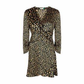 RIXO Lilly Leopard-print Satin Mini Dress