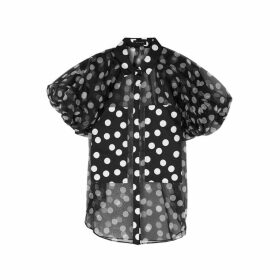 Lee Mathews Cherry Polka-dot Silk Blouse