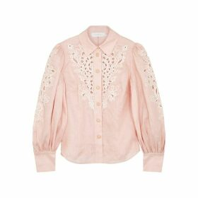 Zimmermann Peggy Pink Embroidered Linen Shirt