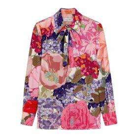 Valentino Floral-print Silk Crepe De Chine Blouse
