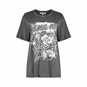 MICHAEL Michael Kors Graphic Logo Cotton-jersey Boyfriend T-shirt