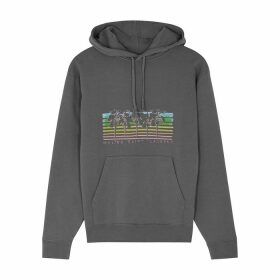 Saint Laurent Grey Printed Hooded Cotton Sweatshirt