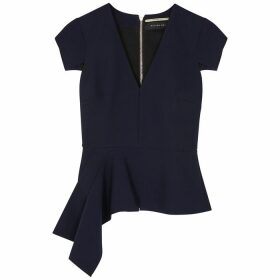 Roland Mouret Breen Navy Draped Stretch-cady Top