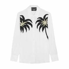 Boutique Moschino White Palm-print Georgette Shirt