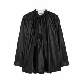 Jil Sander Black Coated Cotton Blouse