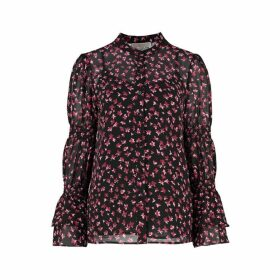 MICHAEL Michael Kors Floral Georgette Bell-cuff Blouse