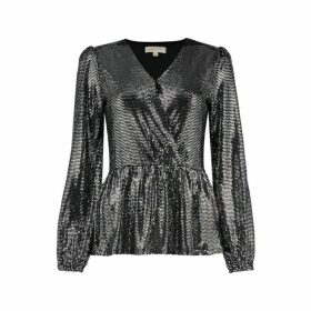 MICHAEL Michael Kors Mirror Dot Jersey Crossover Top