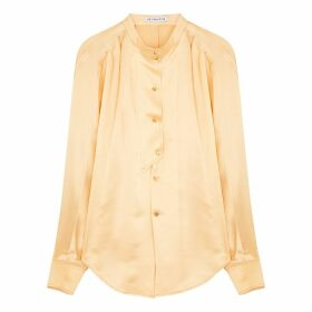 Rejina Pyo Marianne Peach Hammered Silk Shirt