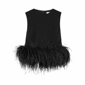16 Arlington Dickinson Black Feather-trimmed Top