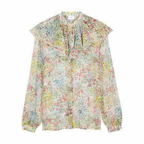 Giambattista Valli Floral-print Silk-chiffon Blouse