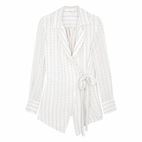 Chloé Ivory Striped Silk-blend Wrap Blouse