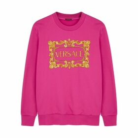 Versace Fuchsia Logo-embroidered Cotton Sweatshirt