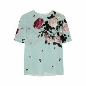 Erdem Armilla Floral-print Silk Crepe De Chine Top