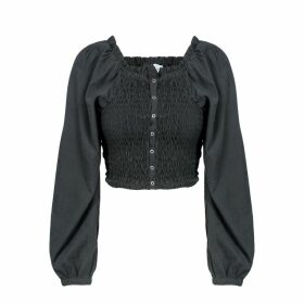 Naftul - Party Puffy Sleeves Crop Top Black