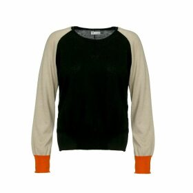 Naftul - Pullover Color Block Cotton Knitted Raglan Sweater