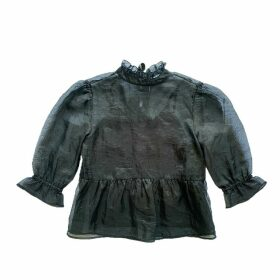 eyes on floyd - Black Organza Bow Blouse