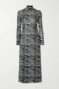 STAUD - Brae Zebra-print Stretch-mesh Turtleneck Midi Dress - Zebra print