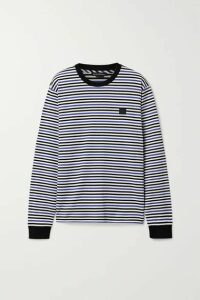Acne Studios - Elwood Face Appliquéd Striped Cotton-jersey Top - Blue