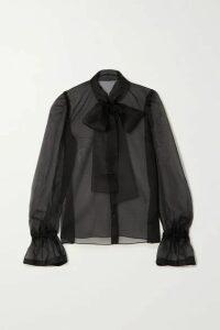Dolce & Gabbana - Pussy-bow Silk-organza Blouse - Black