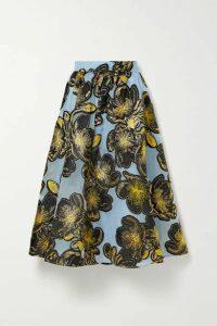 Stine Goya - Laila Metallic Floral-jacquard Midi Skirt - Light blue