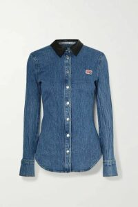 Alexander Wang - Textured Leather-trimmed Denim Shirt - Mid denim