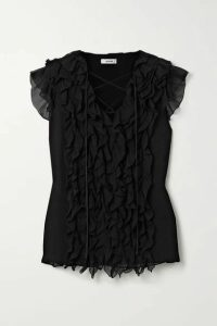Jason Wu - Lace-up Ruffled Silk-georgette Blouse - Black