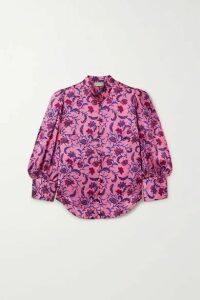 Seren - Bianca Floral-print Silk-satin Blouse - Pink