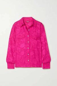 STAUD - Alyssa Floral-jacquard Shirt - Fuchsia