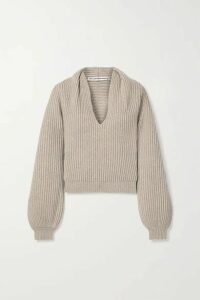 Alexander Wang - Ribbed Wool-blend Sweater - Mushroom
