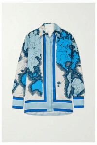Victoria, Victoria Beckham - Printed Satin-twill Shirt - Blue