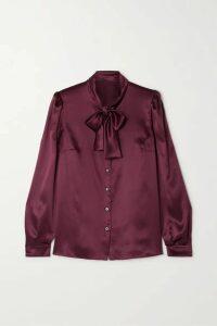 Dolce & Gabbana - Pussy-bow Silk-satin Blouse - Plum