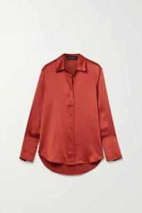 Lee Mathews - Stella Silk-satin Shirt - Brick