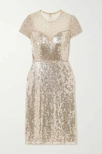 Jenny Packham - Delphine Embellished Sequined Tulle Dress - Silver