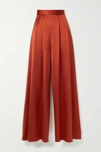 Brandon Maxwell - Pleated Silk-satin Wide-leg Pants - Tomato red
