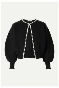 Alexander Wang - Faux Pearl-embellished Distressed Wool-blend Cardigan - Black