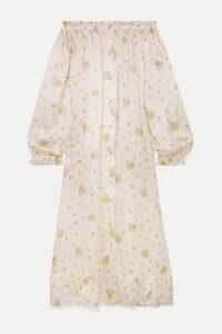 Sleeper - Ruffled Off-the-shoulder Printed Silk-satin Midi Dress - White