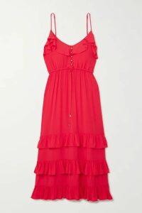 Melissa Odabash - Bethan Tiered Ruffled Crepe De Chine Midi Dress - medium