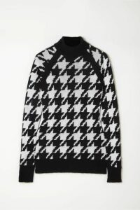 Balmain - Button-embellished Houndstooth Knitted Sweater - Black