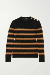 Balmain - Button-embellished Lurex-trimmed Wool Sweater - Black