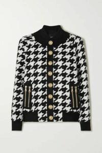Balmain - Button-embellished Houndstooth Wool-blend Bomber Jacket - Black